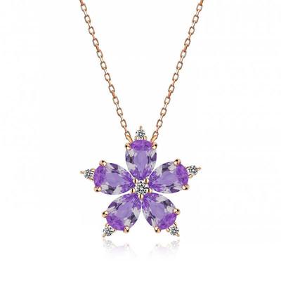 Gumush - Gümüş Lila Kamelya Çiçeği Kolye