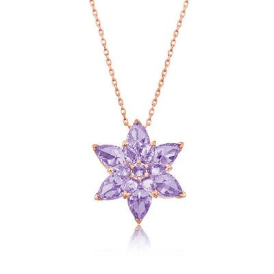Gumush - Gümüş Lila Lotus Çiçeği Kolye