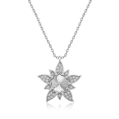 Tekbir Silver - Gümüş Lotus Çiçeği Bayan Kolye