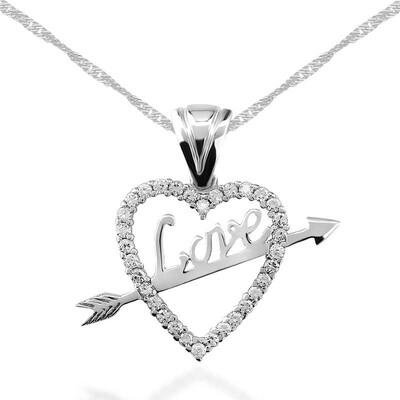 Tekbir Silver - Gümüş Love Oklu Kalp Bayan Kolye