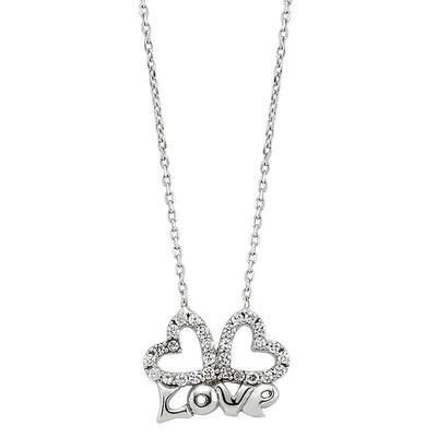 Tekbir Silver - Gümüş Love Yazılı Kalpli Bayan Kolye