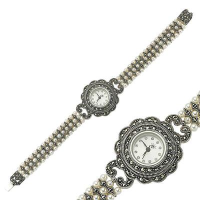 Tekbir Silver - Gümüş Markazit Taşlı Bayan Saat (1)