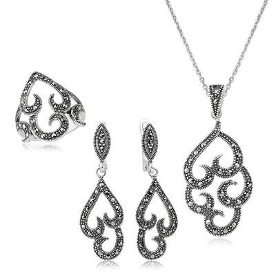 Tekbir Silver - Gümüş Markazit Taşlı Bayan Set