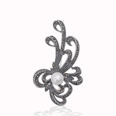 Tekbir Silver - Gümüş Markazit Taşlı Desenli İnci Broş