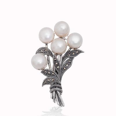 Tekbir Silver - Gümüş Markazit Taşlı İnci Demeti Broş