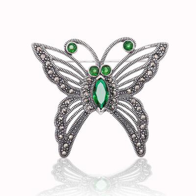 Tekbir Silver - Gümüş Markazit Taşlı Kelebek Broş