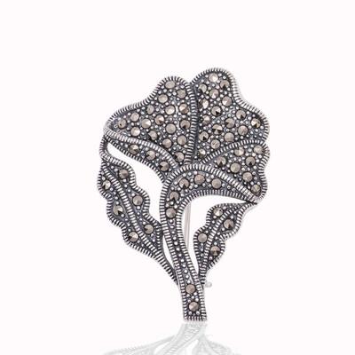 Tekbir Silver - Gümüş Markazit Taşlı Yaprak Broş