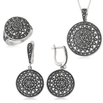 Tekbir Silver - Gümüş Markazit Yuvarlak Bayan Set