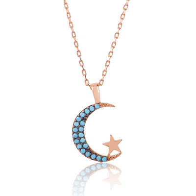 Tekbir Silver - Gümüş Mavi Ay Yıldız Bayan Kolye