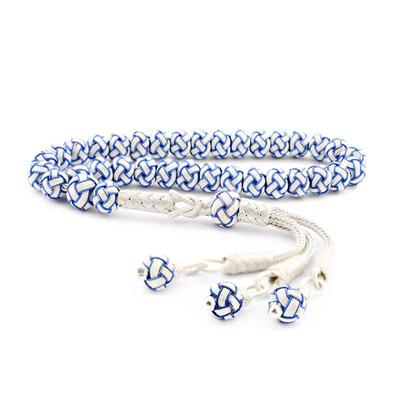 Tekbir Silver - Gümüş Mavi Beyaz Kazaziye Tesbih