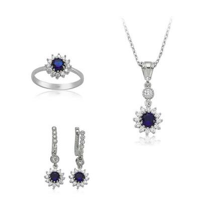 Tekbir Silver - Gümüş Mavi Çiçek Bayan Set