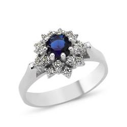 Tekbir Silver - Gümüş Mavi Çiçek Bayan Yüzük
