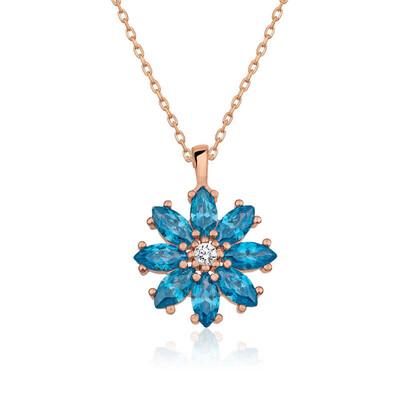 Gumush - Gümüş Mavi Çiçek Kolye