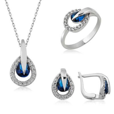 Tekbir Silver - Gümüş Mavi Damla Bayan Set