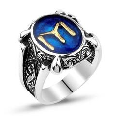 Tekbir Silver - Gümüş Mavi IYI Kayı Boyu Erkek Yüzük