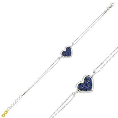 Tekbir Silver - Gümüş Mavi Kalpli Bayan Bileklik