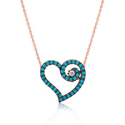 Tekbir Silver - Gümüş Mavi Kalpli Bayan Kolye
