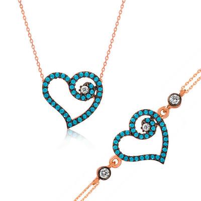 Tekbir Silver - Gümüş Mavi Kalpli Bayan Set