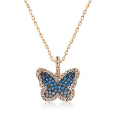 Tekbir Silver - Gümüş Mavi Kelebek Bayan Kolye