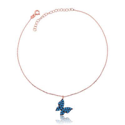 Tekbir Silver - Gümüş Mavi Kelebek Halhal