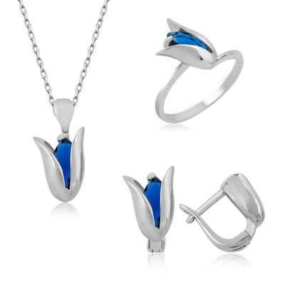 Tekbir Silver - Gümüş Mavi Lale Bayan Set