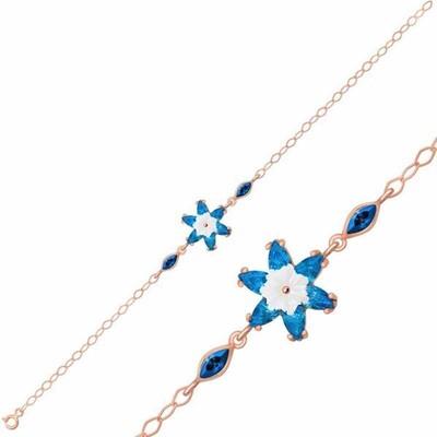 Gumush - Gümüş Mavi Lotus Çiçeği Bileklik