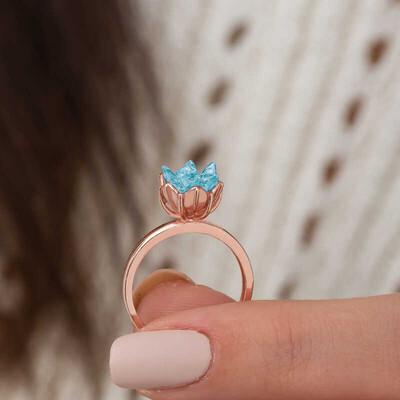 Gumush - Gümüş Mavi Lotus Çiçeği Yüzük (1)