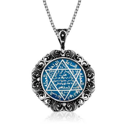 Gumush - Gümüş Mavi Mineli Büyük Süleyman Mührü Kolye