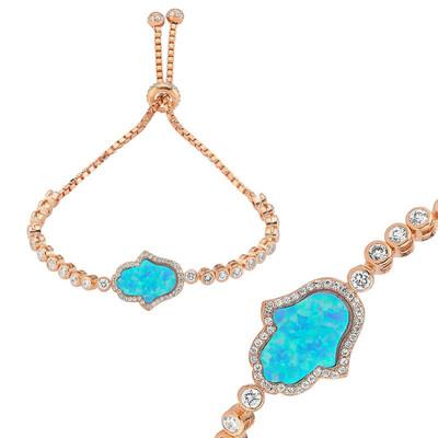 Tekbir Silver - Gümüş Mavi Opal Fatma Eli Asansör Bileklik