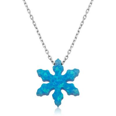 Tekbir Silver - Gümüş Mavi Opal Taş Kar Tanesi Bayan Kolye