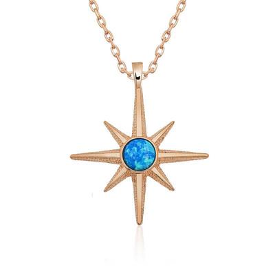 Gumush - Gümüş Mavi Opal Taşlı Kutup Yıldızı Kolye