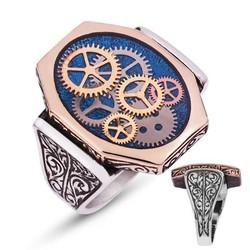 Tekbir Silver - Gümüş Mavi Saat Çarkı Erkek Yüzük