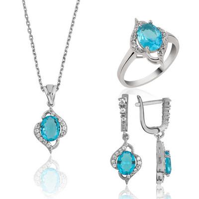 Tekbir Silver - Gümüş Mavi Taşlı Bayan Set
