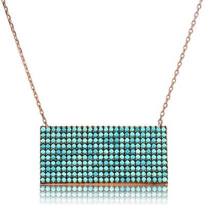 Tekbir Silver - Gümüş Mavi Taşlı Dikdörtgen Bayan Kolye