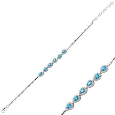 Tekbir Silver - Gümüş Mavi Taşlı Su Yolu Bayan Bileklik