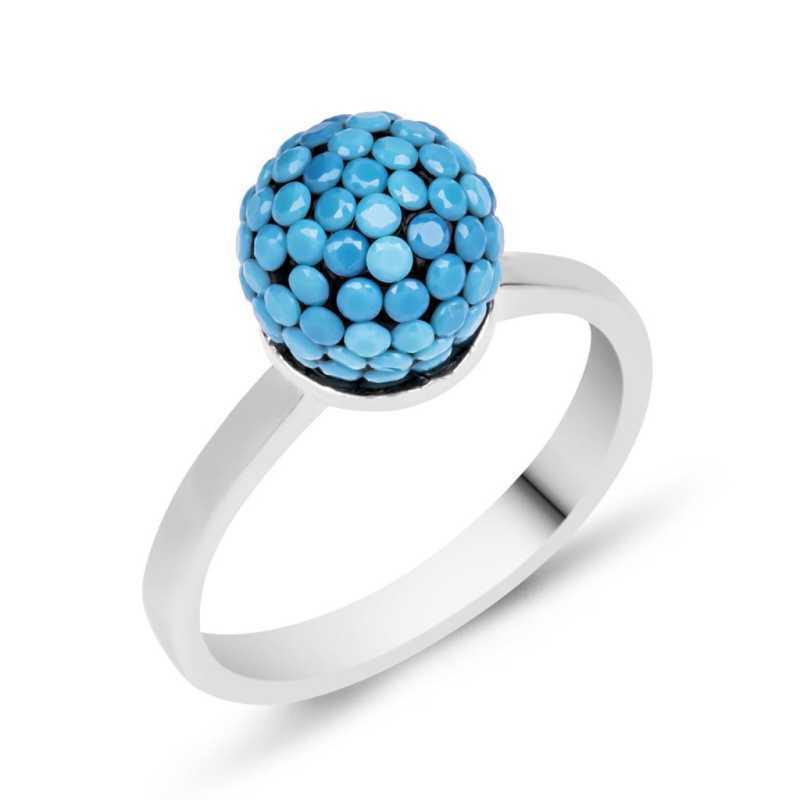 Gümüş Mavi Taşlı Top Bayan Yüzük