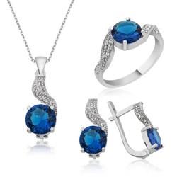 Tekbir Silver - Gümüş Mavi Tek Taş Bayan Set