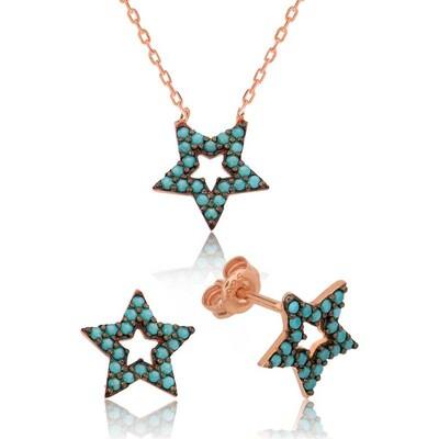 Tekbir Silver - Gümüş Mavi Yıldız Bayan Set