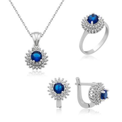 Tekbir Silver - Gümüş Mavi Zirkon Taşlı Bayan Set