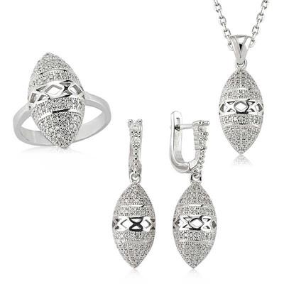 Tekbir Silver - Gümüş Mekik Montür Bayan Set