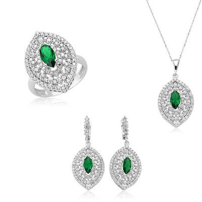 Tekbir Silver - Gümüş Mekik Taşlı Hürrem Bayan Set