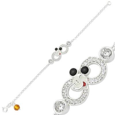 Tekbir Silver - Gümüş Miki Mouse Sonsuzluk Çocuk Bileklik