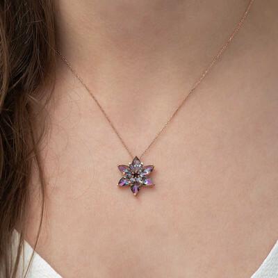Gumush - Gümüş Mistik Topaz Lotus Çiçeği Kolye (1)