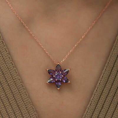 Gumush - Gümüş Mor Çiçek Kolye (1)