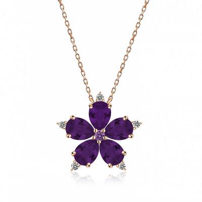 Gumush - Gümüş Mor Kamelya Çiçeği Kolye