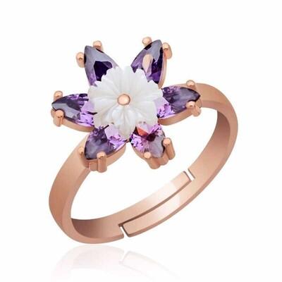 Gumush - Gümüş Mor Lotus Çiçeği Yüzük
