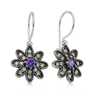 Tekbir Silver - Gümüş Mor Taşlı Çiçek Küpe