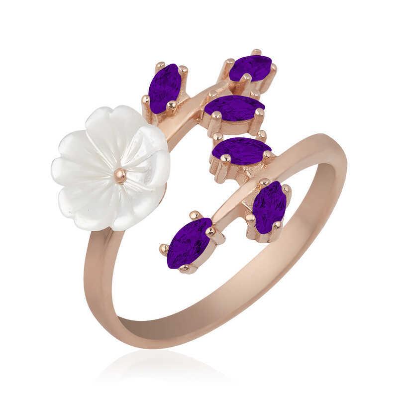 Gümüş Mor Yapraklı Bahar Çiçeği Yüzük