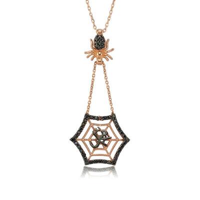 Tekbir Silver - Gümüş Muhammed Yazılı Örümcek Ağı Bayan Kolye