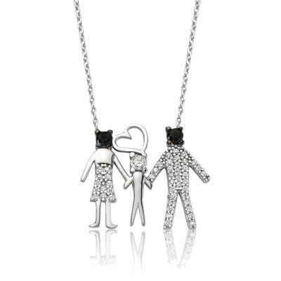 Tekbir Silver - Gümüş Mutlu Aile Bayan Kolye